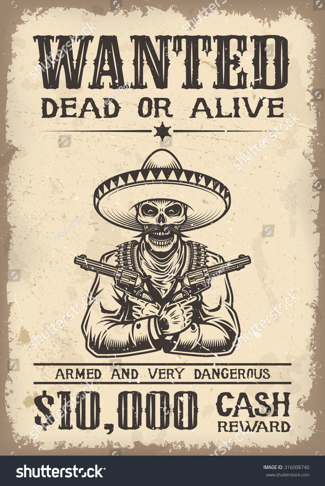 vintage wild west wanted poster old stock vector 316008740