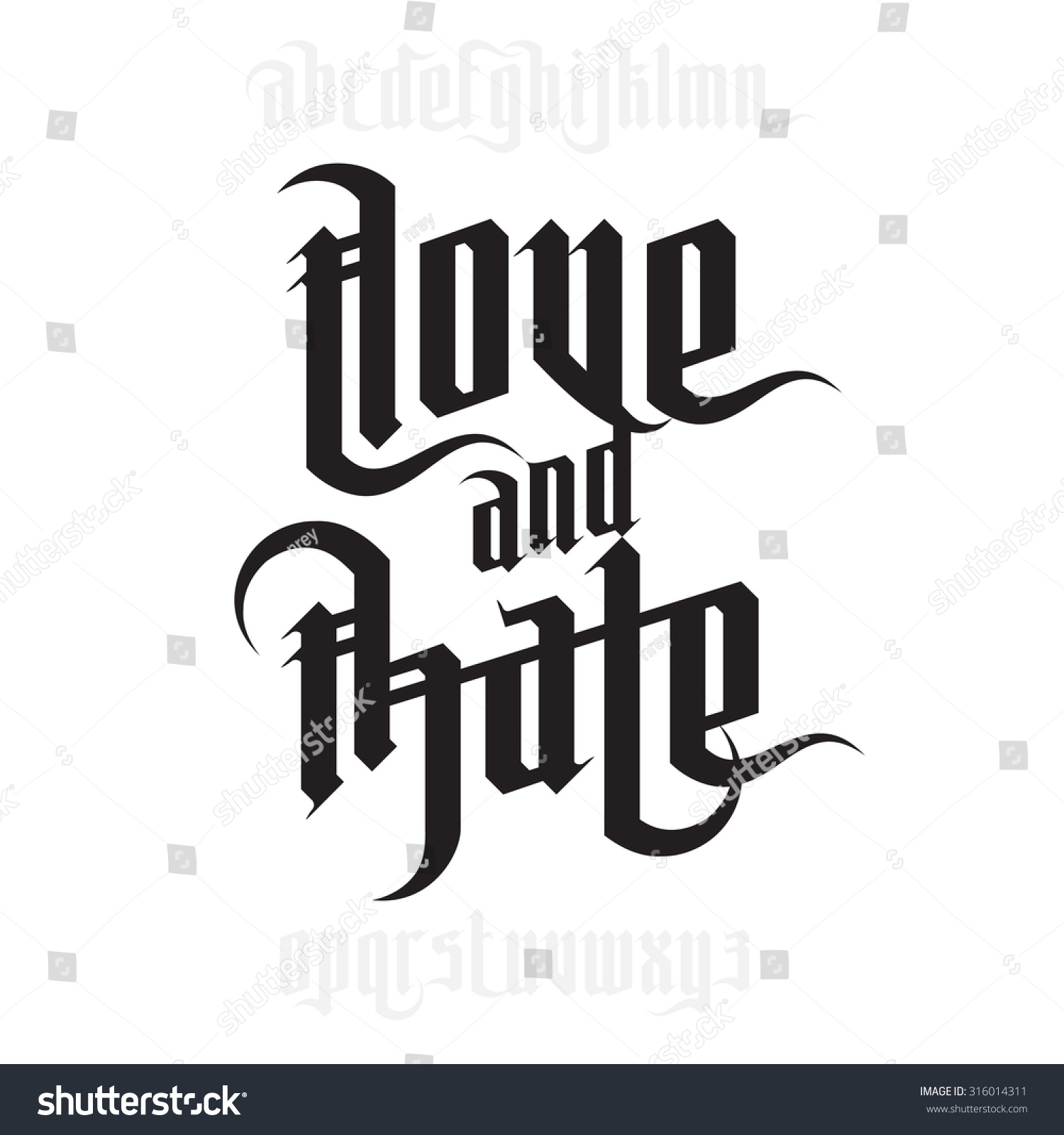 Love hate lettering modern gothic style stock vector