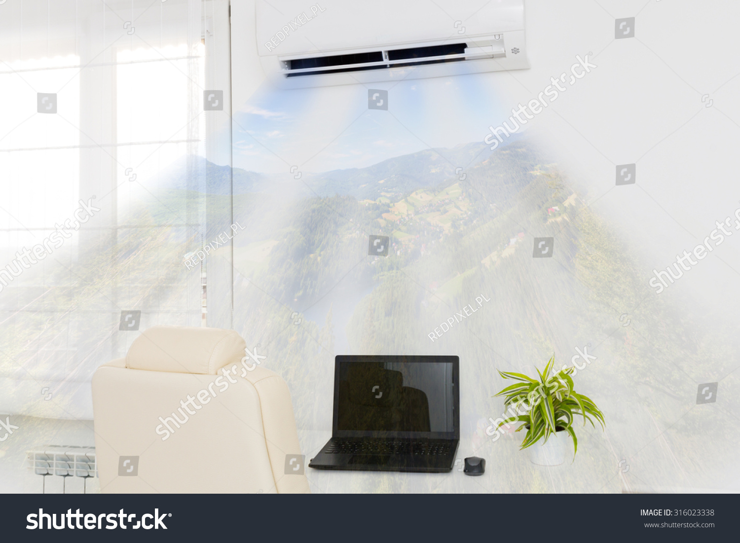#7C8B24 Air Conditioner Blowing Cold Air. Home Interior Concepts Brand New  10131 Home Air