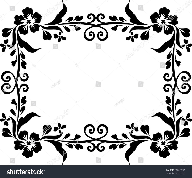 Frame Design Black Background Draw Lines Stock Vector