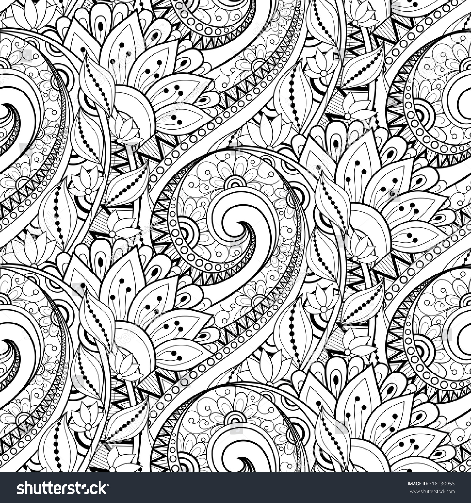 Vector Seamless Monochrome Floral Pattern Hand Drawn Floral Texture Decorative Flowers Coloring Book