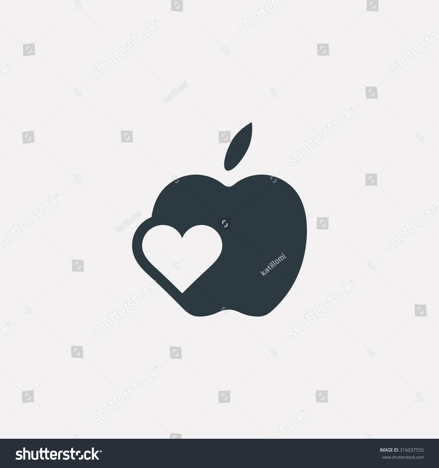 Vector graphic illustration apple symbol heart stock vector vector graphic illustration of an apple symbol with a heart inside in negative space buycottarizona