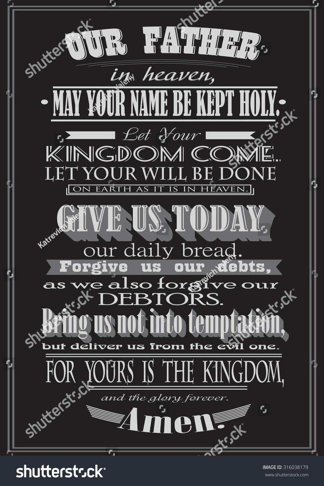 lords prayer literal design stock illustration 316038179