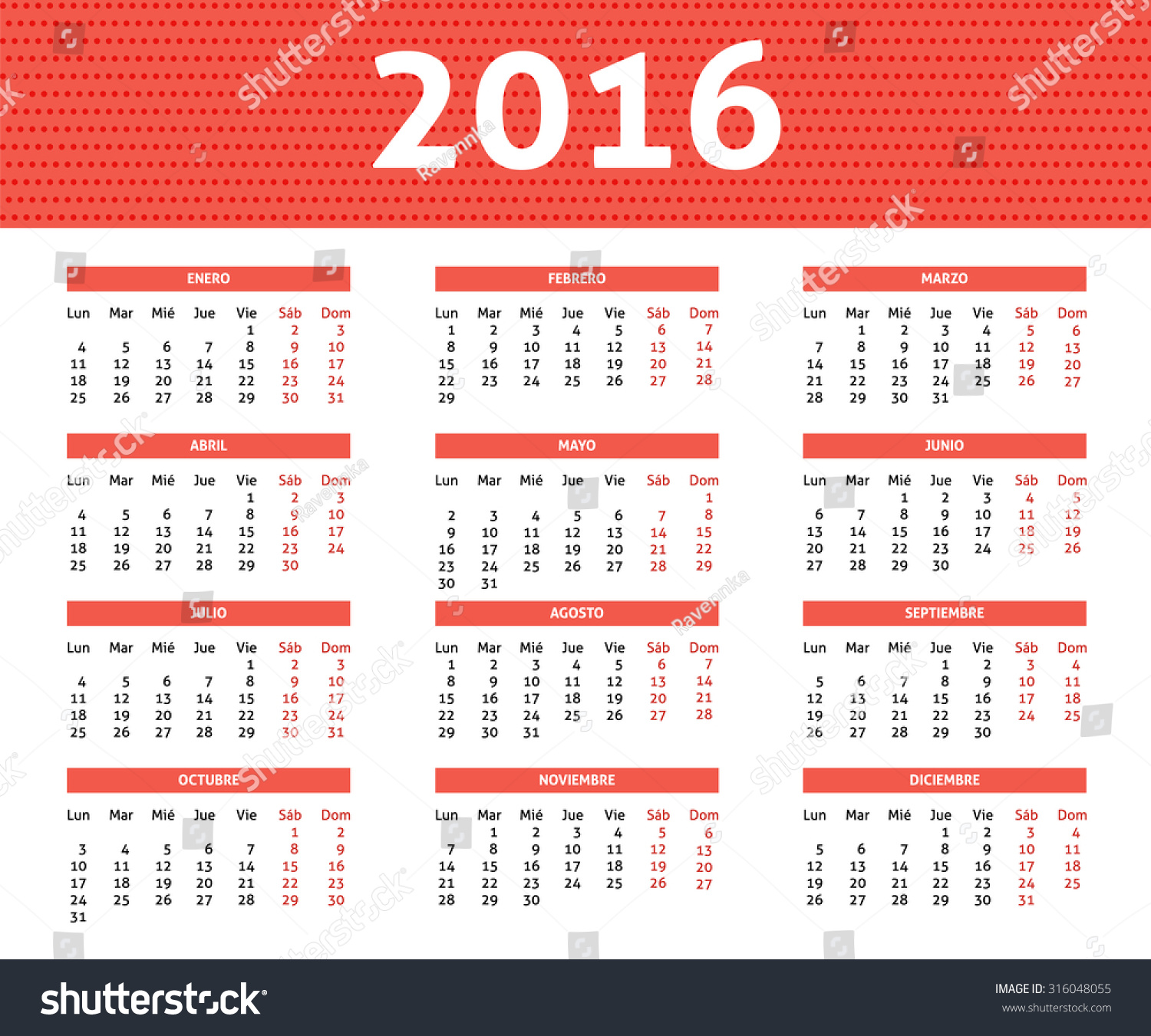 Weekly Calendar In Spanish : Year calendar spanish light red stock vector