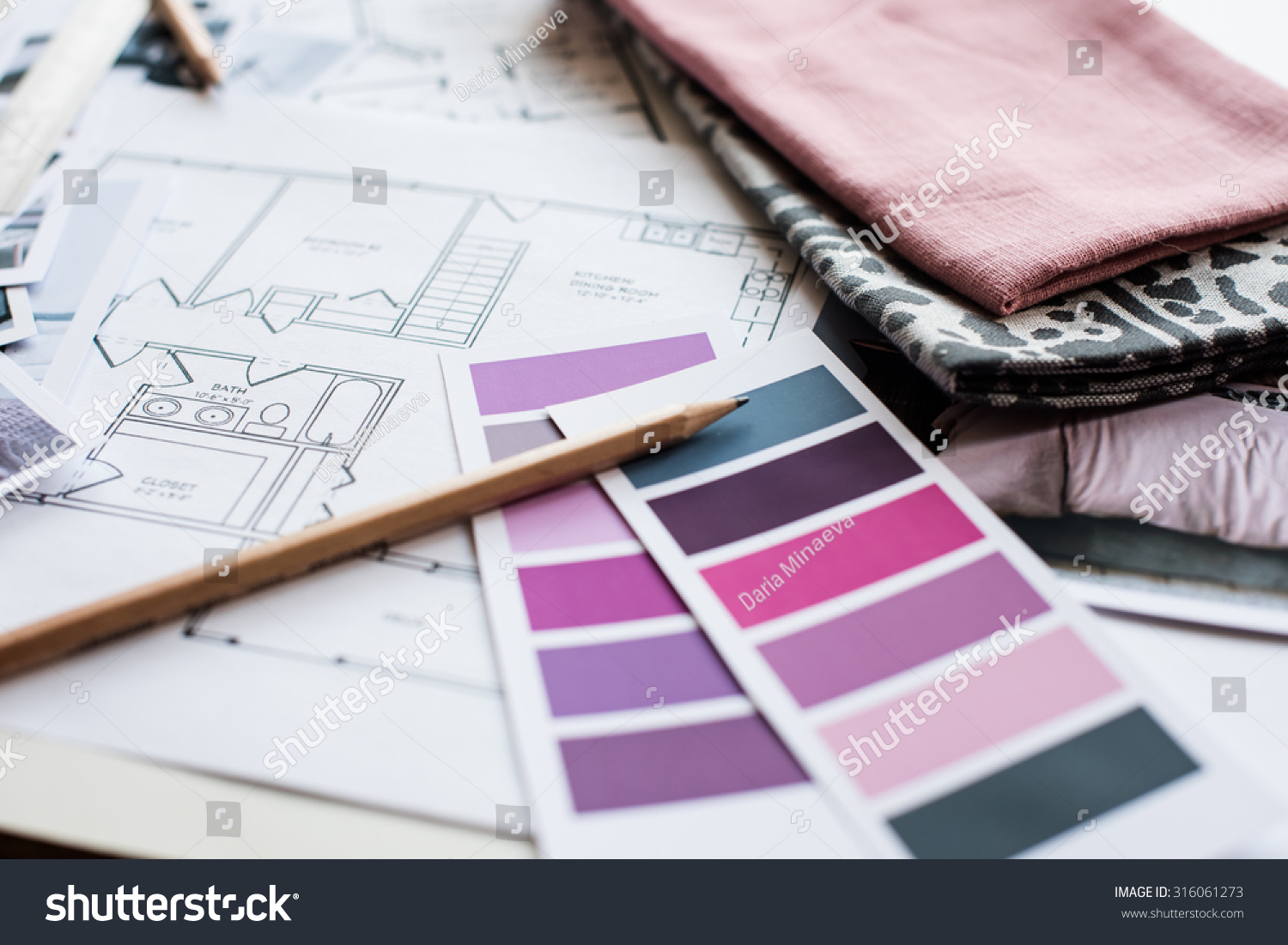 Interior Designers Working Table Architectural Plan Stock Photo 316061273 Shutterstock