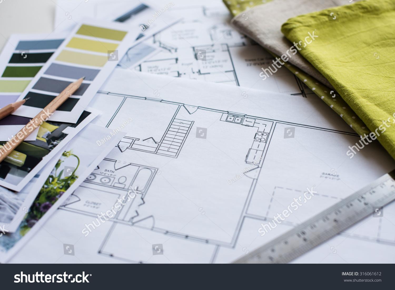 Interior Designer Working: Interior Designers Working Table Architectural Plan Stock
