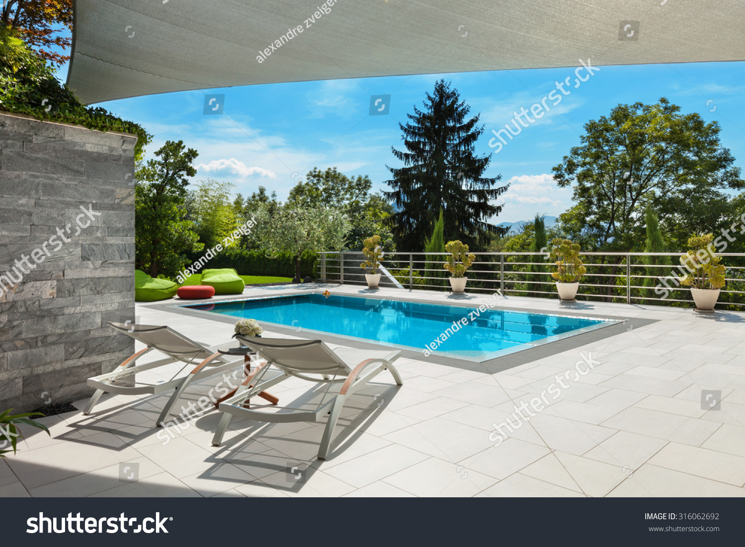 Beautiful house swimming pool view veranda stock photo Swimming pool beautiful