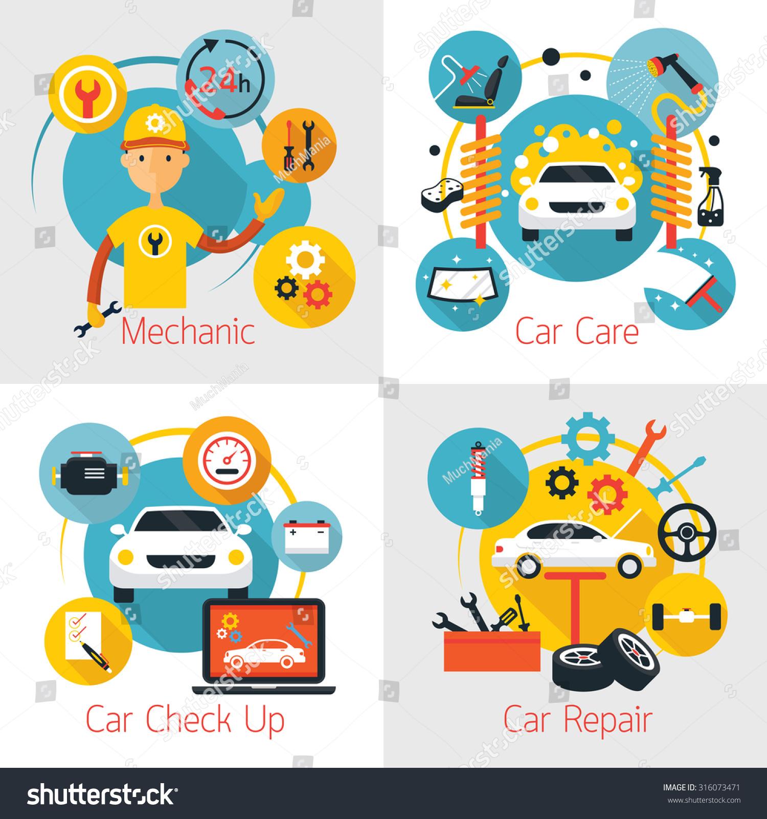 Mechanic Car Maintenance Service Concept Set Stock Vector