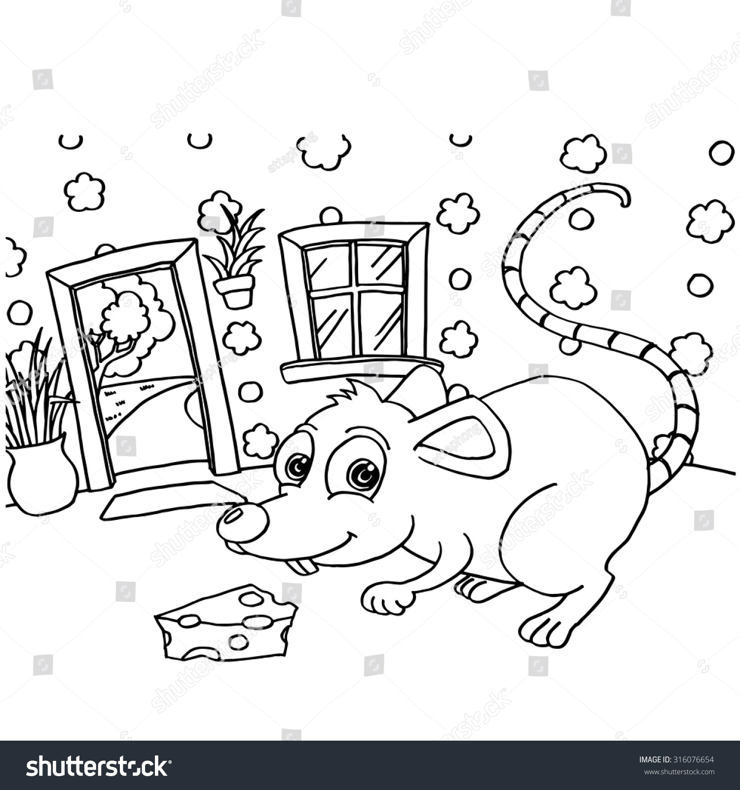 rat colouring pages vector stock vector 316076654 shutterstock