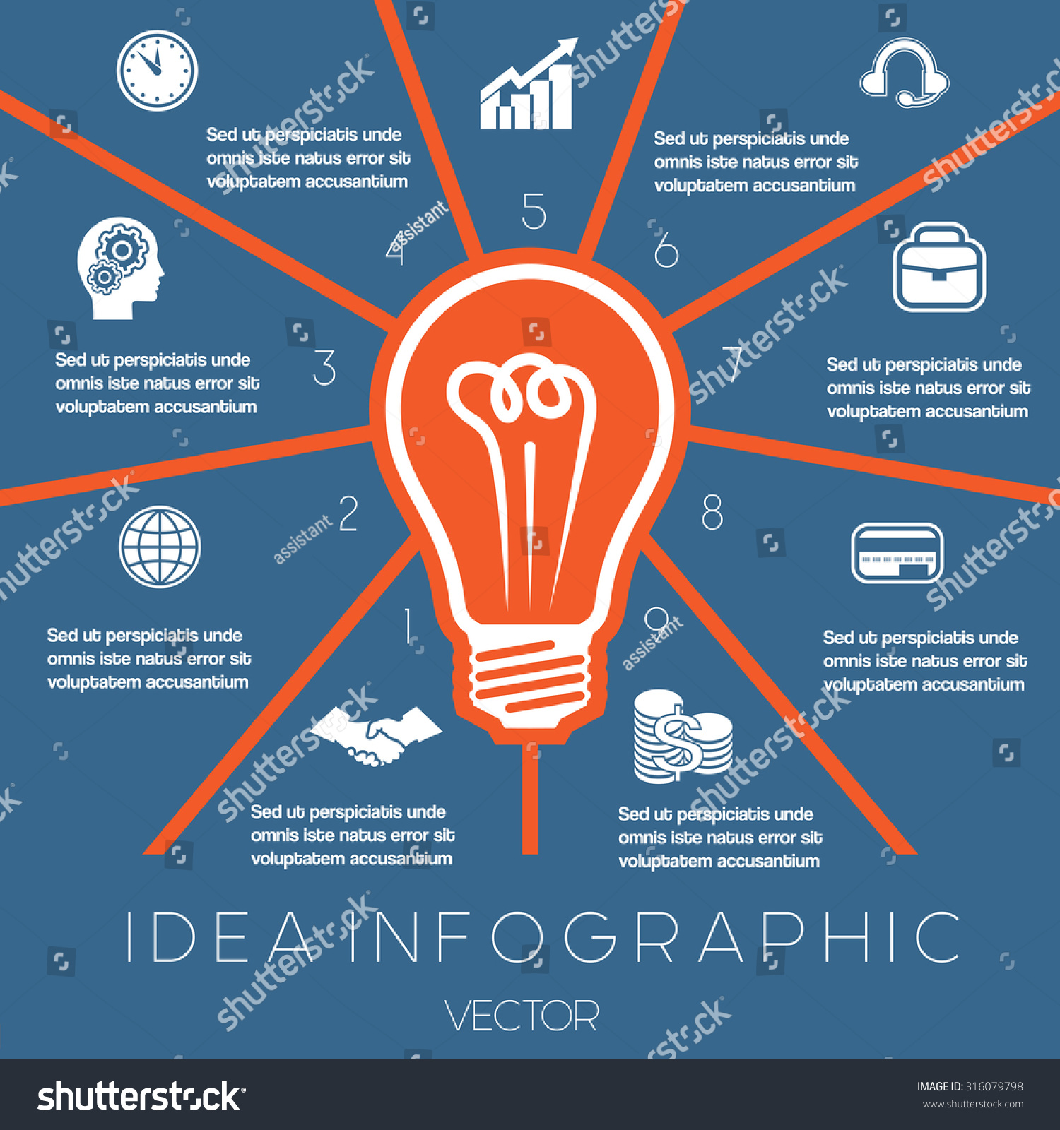 Idea Business Concept Light Bulb Infographics Stock Vector 316079798 ...