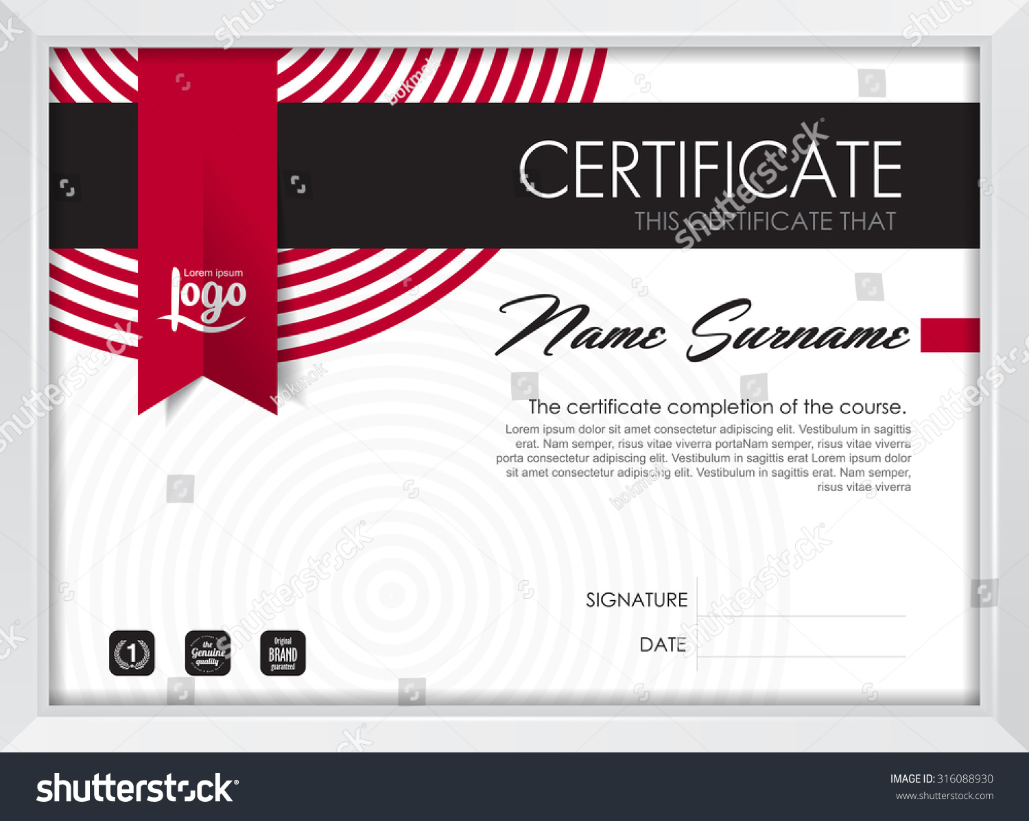 Certificate Template With Clean And Modern Pattern Certificate With White Frame Qualification