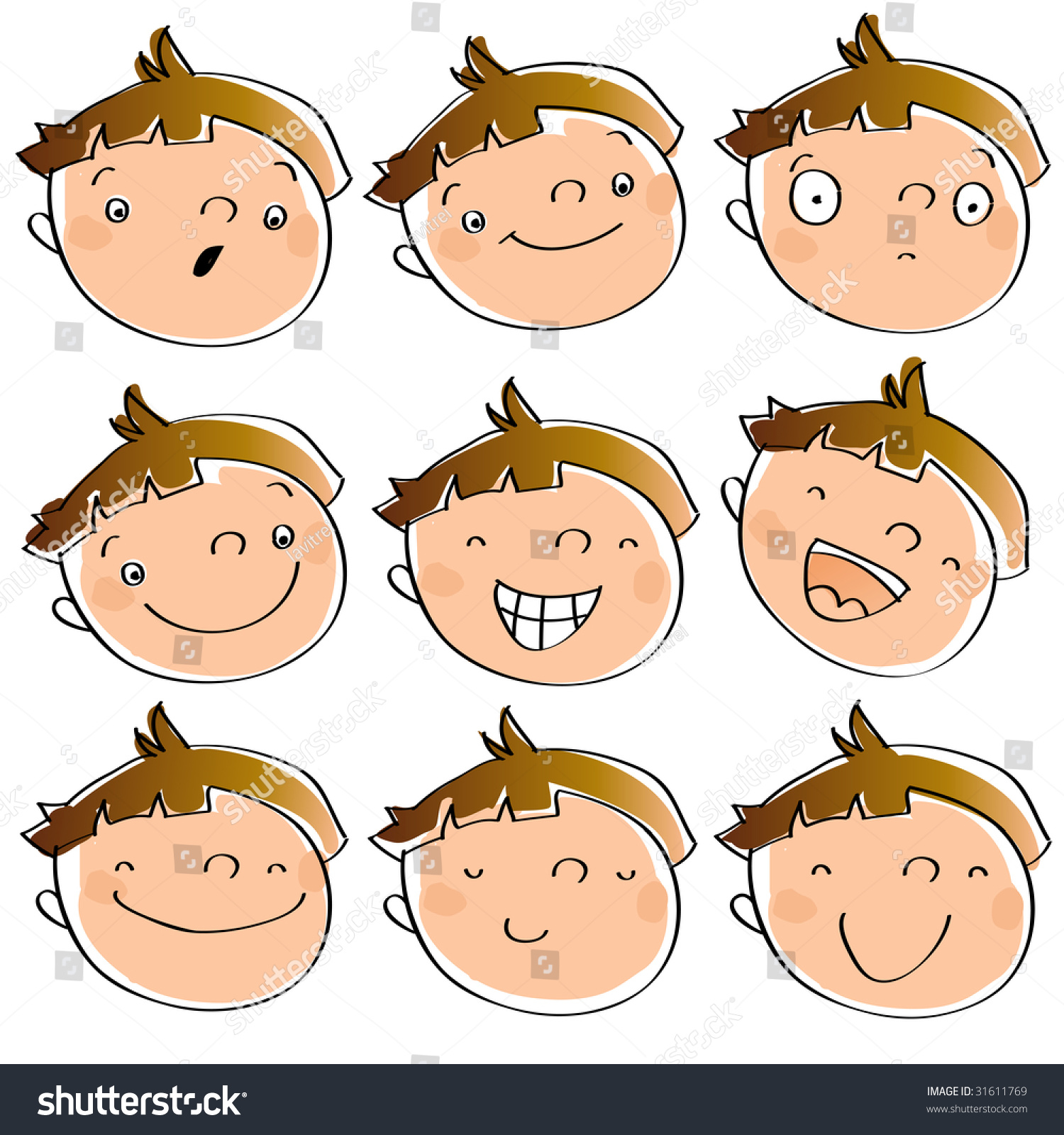 Line Drawings Of Facial Expressions : Funny cartoon kids faces having different stock vector