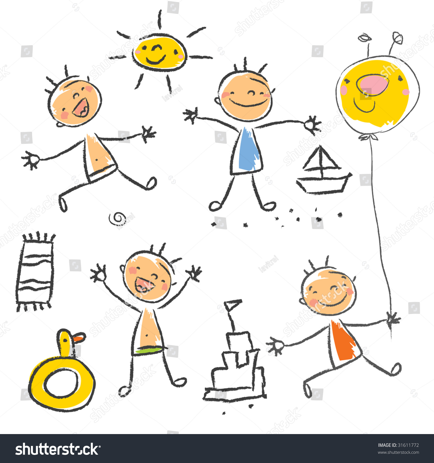 Cute Children Playing On The Beach Isolated Kids Drawing Style Vector Grouped And Layered