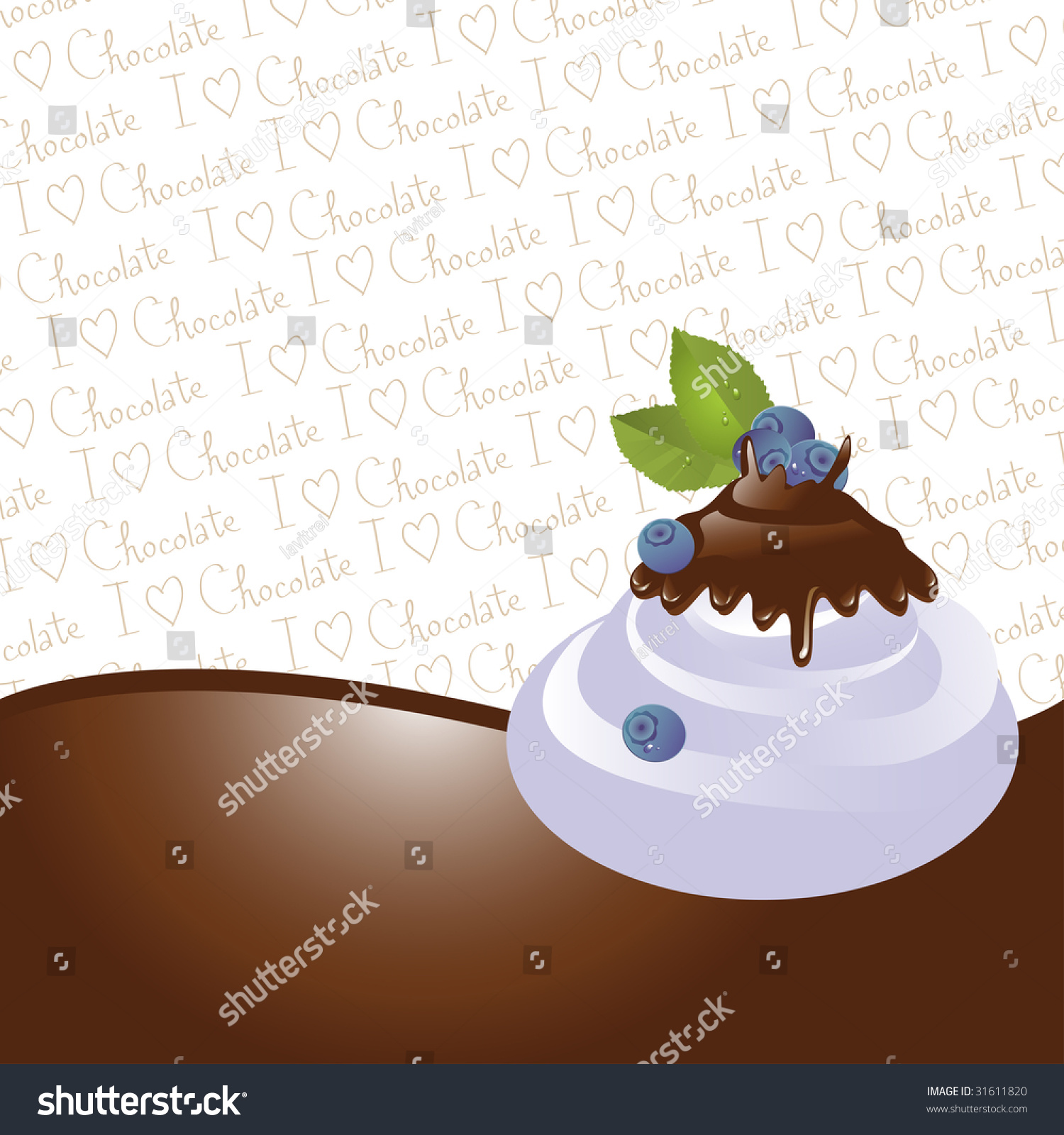 Ice Cream Background Sparking Shiny Decoration Free Vector: Chocolate Dipped Bilberries On Ice Cream Stock Vector