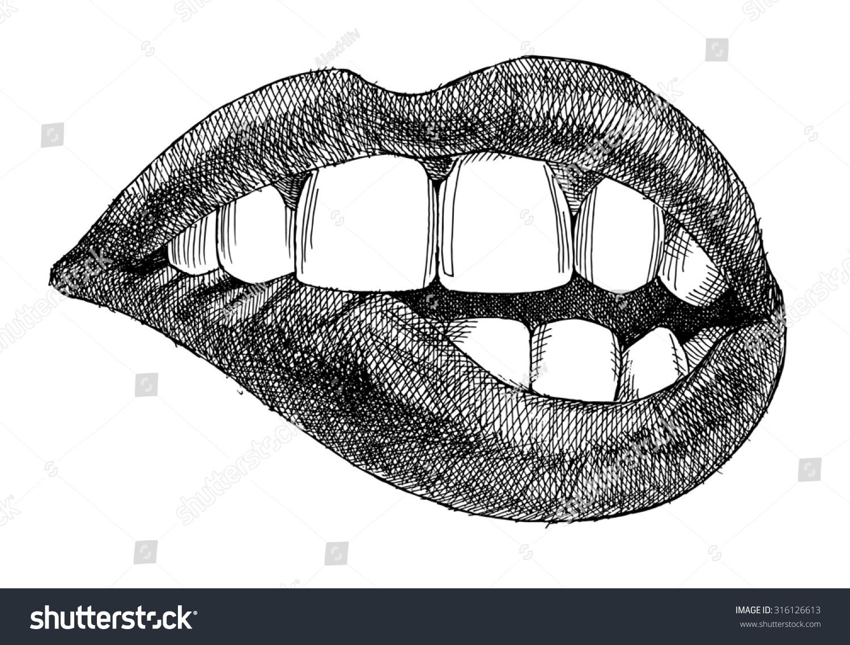 Hand Drawing Biting Lips On White Stock Illustration ...