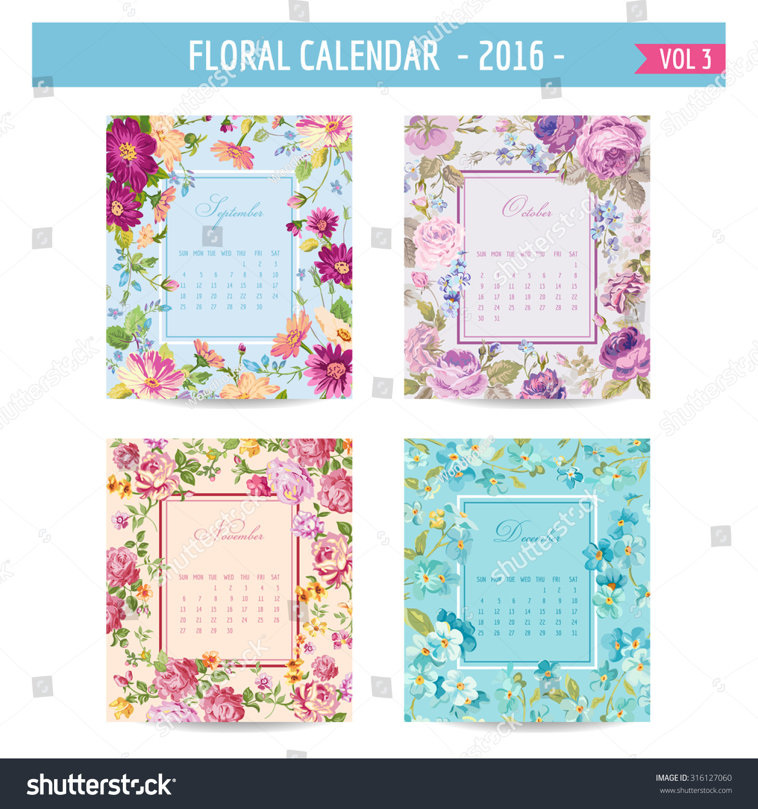 Calendar Vintage Vector : Floral calendar vintage flowers vector stock