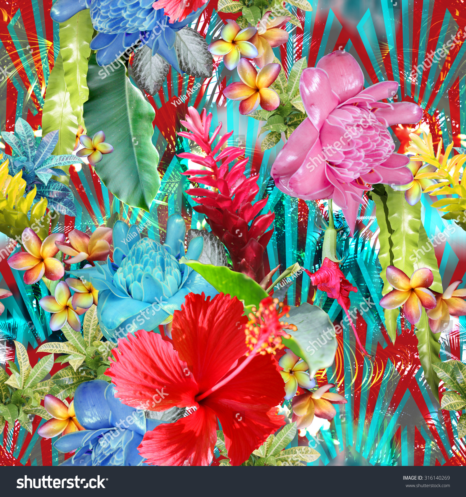 vivid tropical pattern colorful exotic flowers stock illustration, Beautiful flower