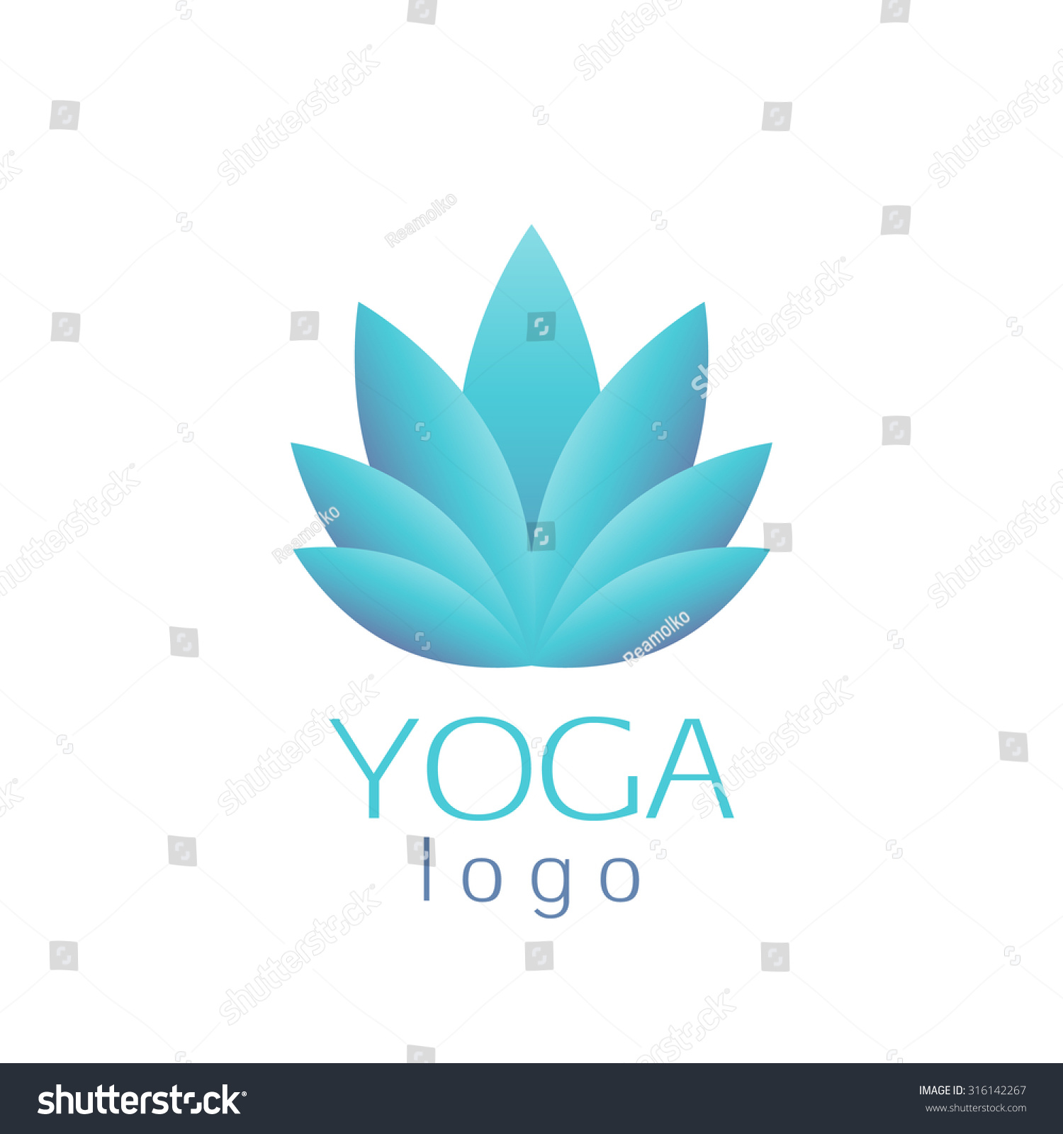 Beautiful Turquoise Lotus Flower Logo Template Stock Vector Royalty