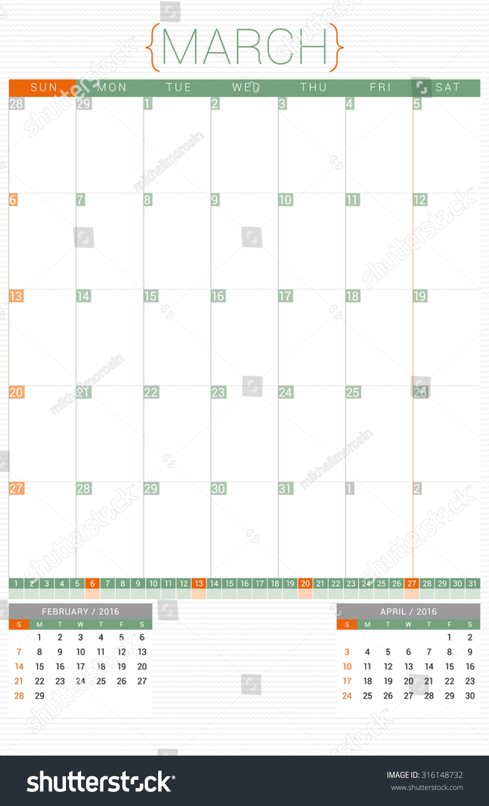 Planner 2016 Template from image.shutterstock.com