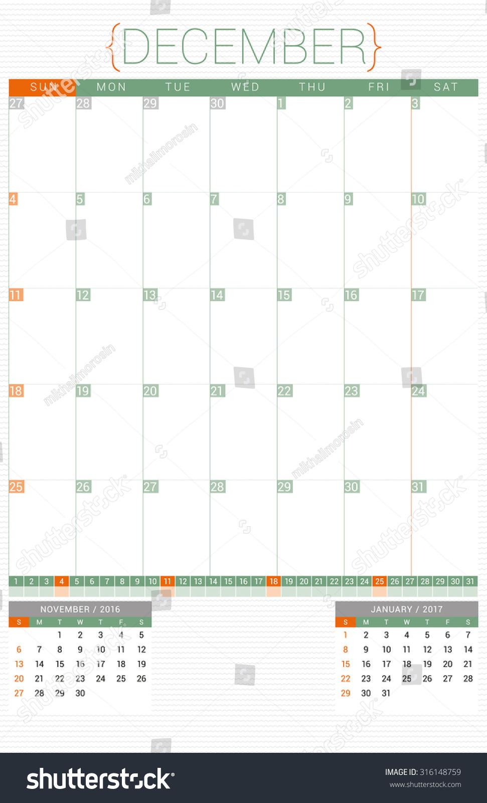 Planner Style Calendar Template : Calendar planner design template december stock