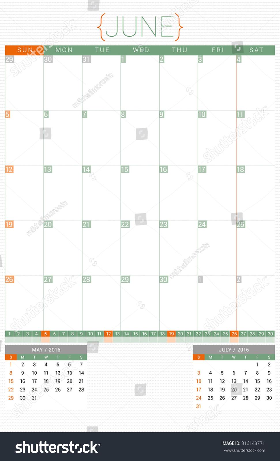 Calendar Planner Design : Calendar planner design template june stock vector