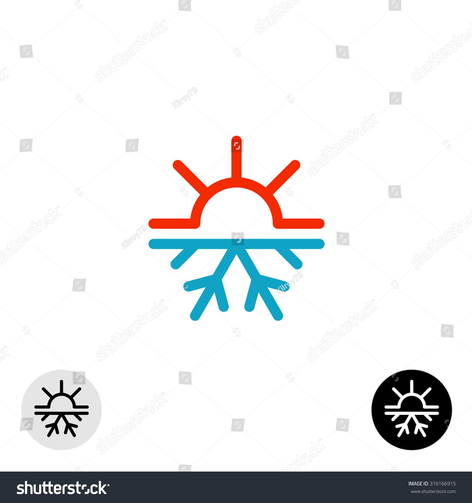 Hot Cold Symbol Sun Snowflake All Stock Vector Royalty Free