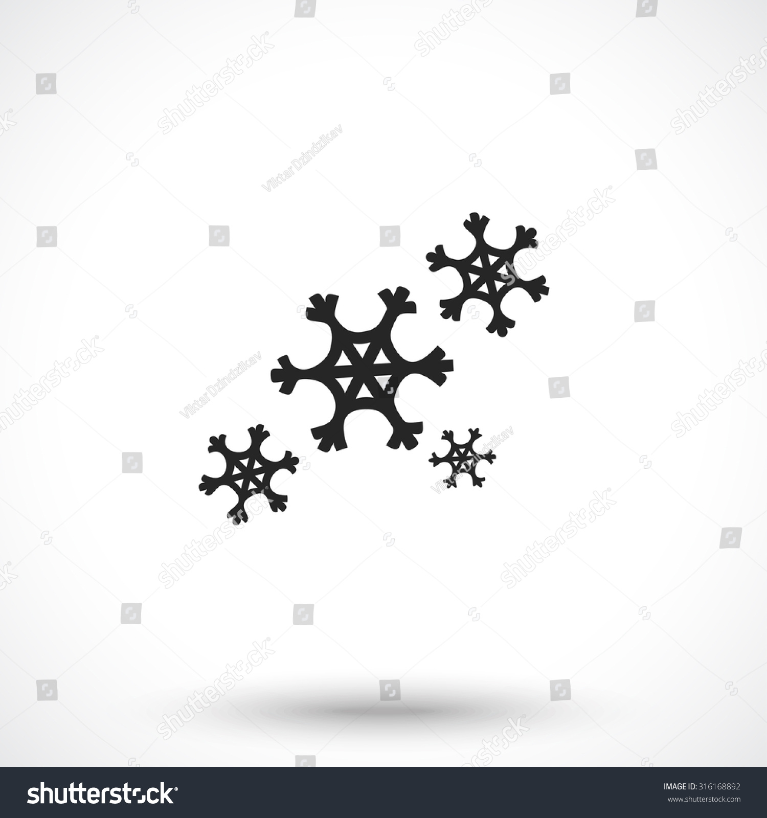 Snowflake Isolated On White Background Snow Stock Vector Royalty
