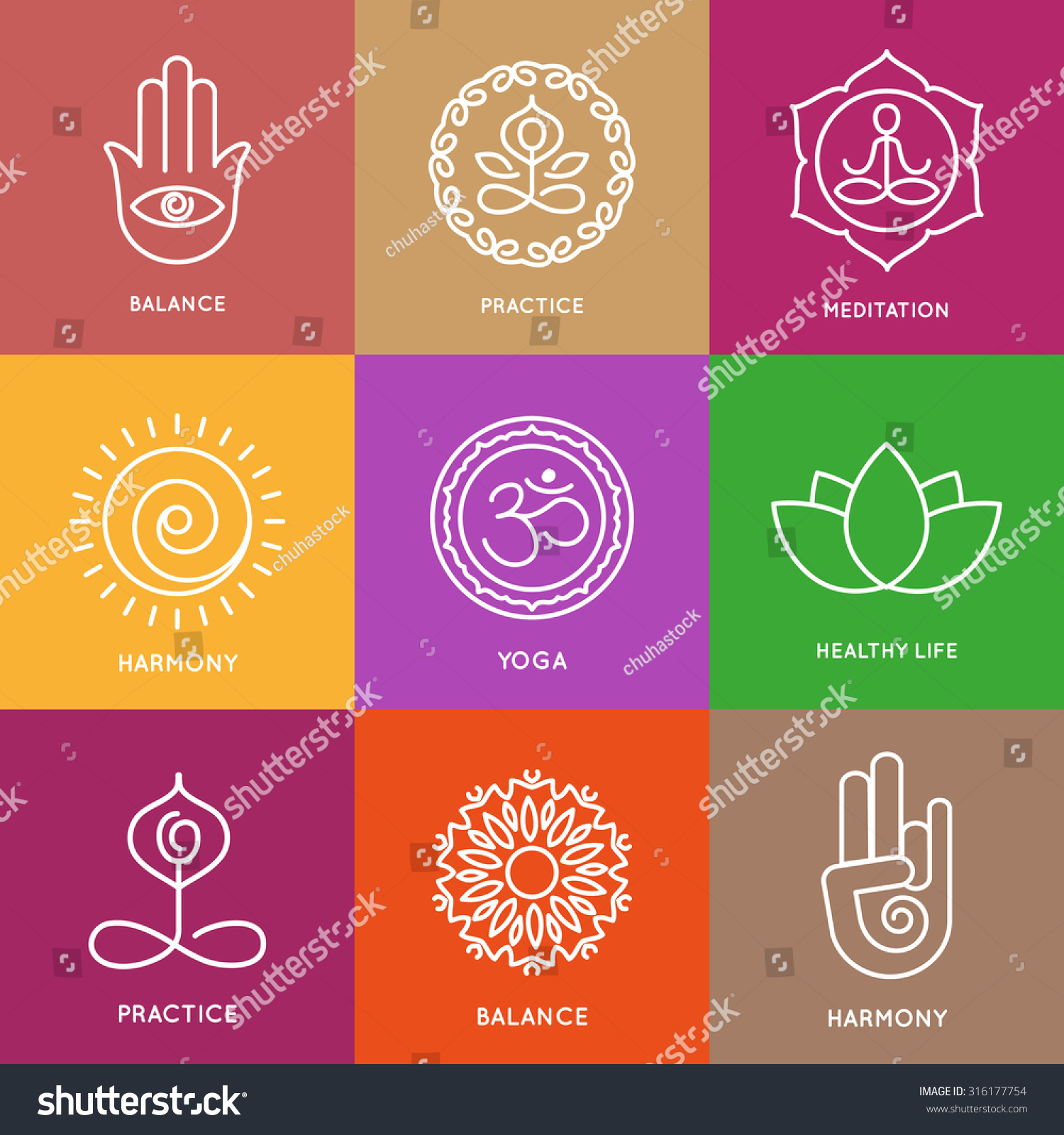 Graphic Design Elements Line : Yoga line symbols in colorful squares vector icons set