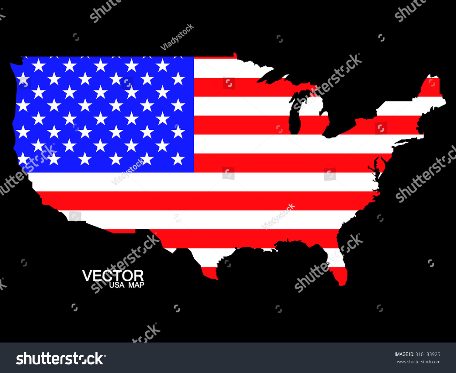 Map United States America Flag Vector Stock Vector - Us map with glag