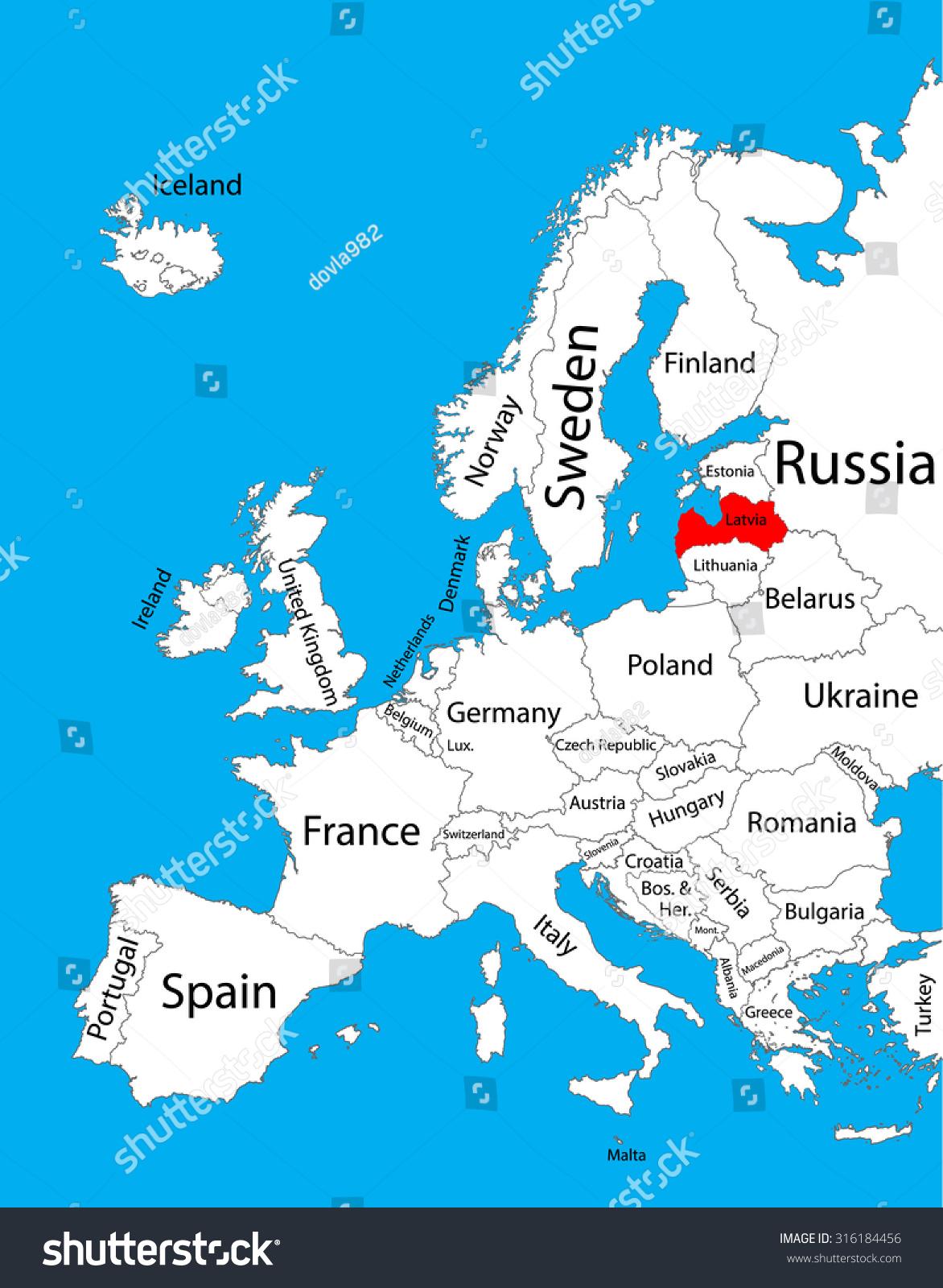 latvia map of europe Latvia Vector Map Europe Vector Map Stock Vector (Royalty Free