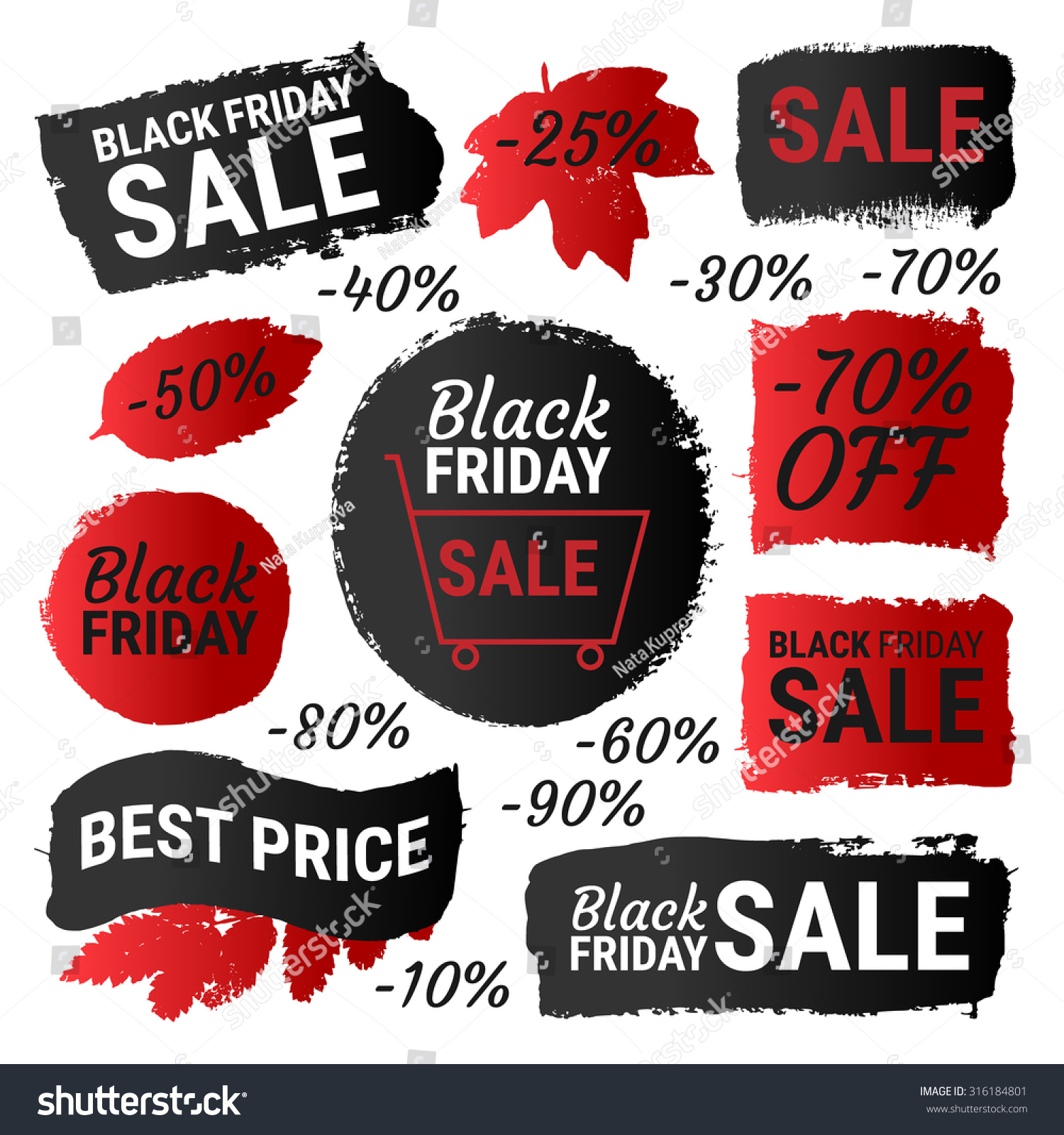 Black Friday Sale Best Price Gradient Banners Labels Round Shapes Vector Collection Of Paint