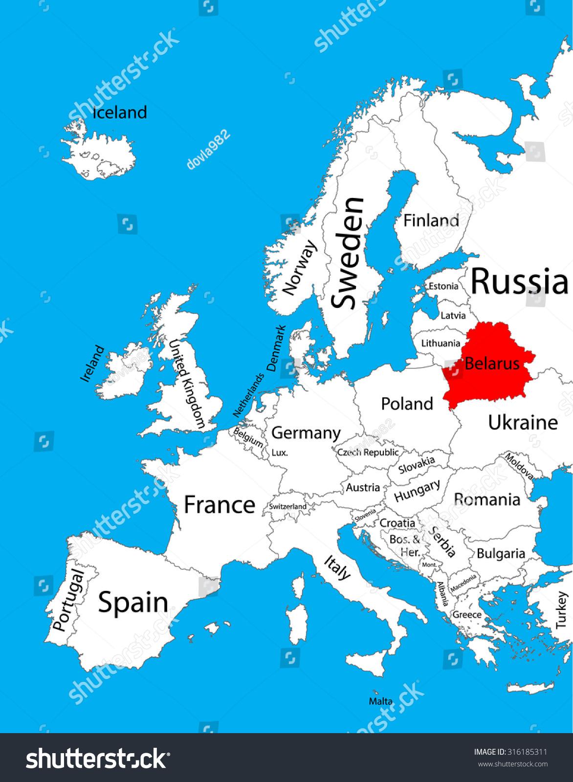 Belarus Vector Map Europe Vector Map Stock Vector - Where is belarus