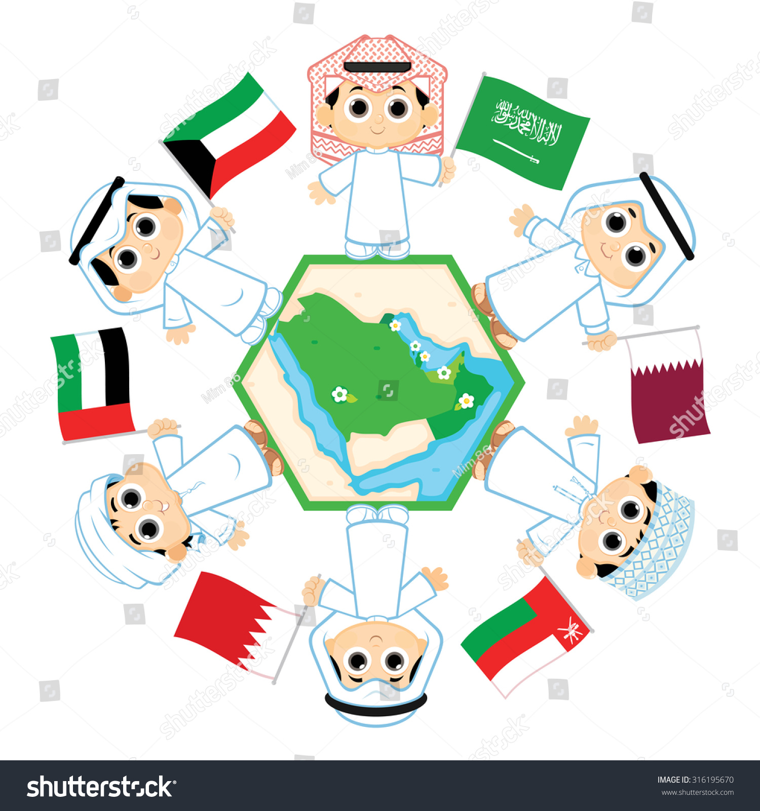 Children Surrounding Map Countries Which Belongs Vector – Map Arab Countries