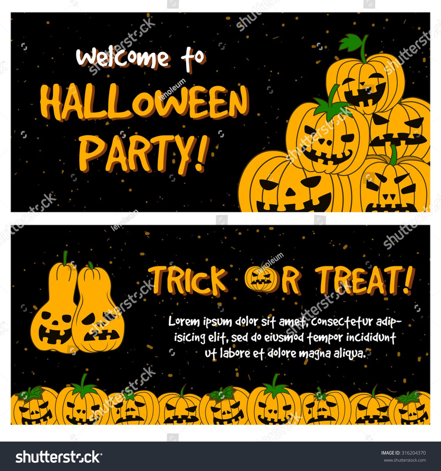 Halloween Party Horizontal Template Banner Poster Stock Vector (2018 ...