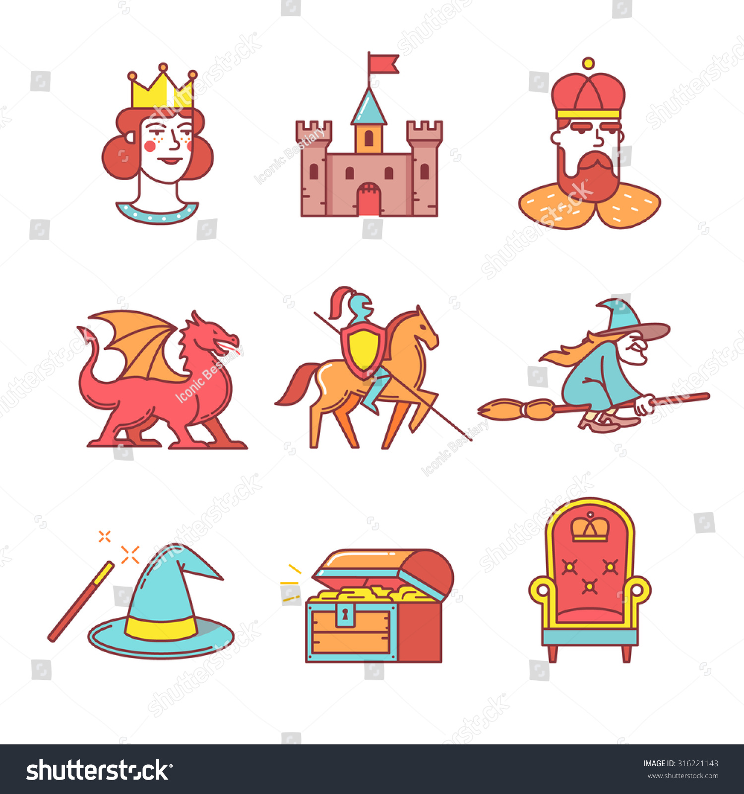 Fairy Tail Icons Thin Line Set Stock Vector 316221143
