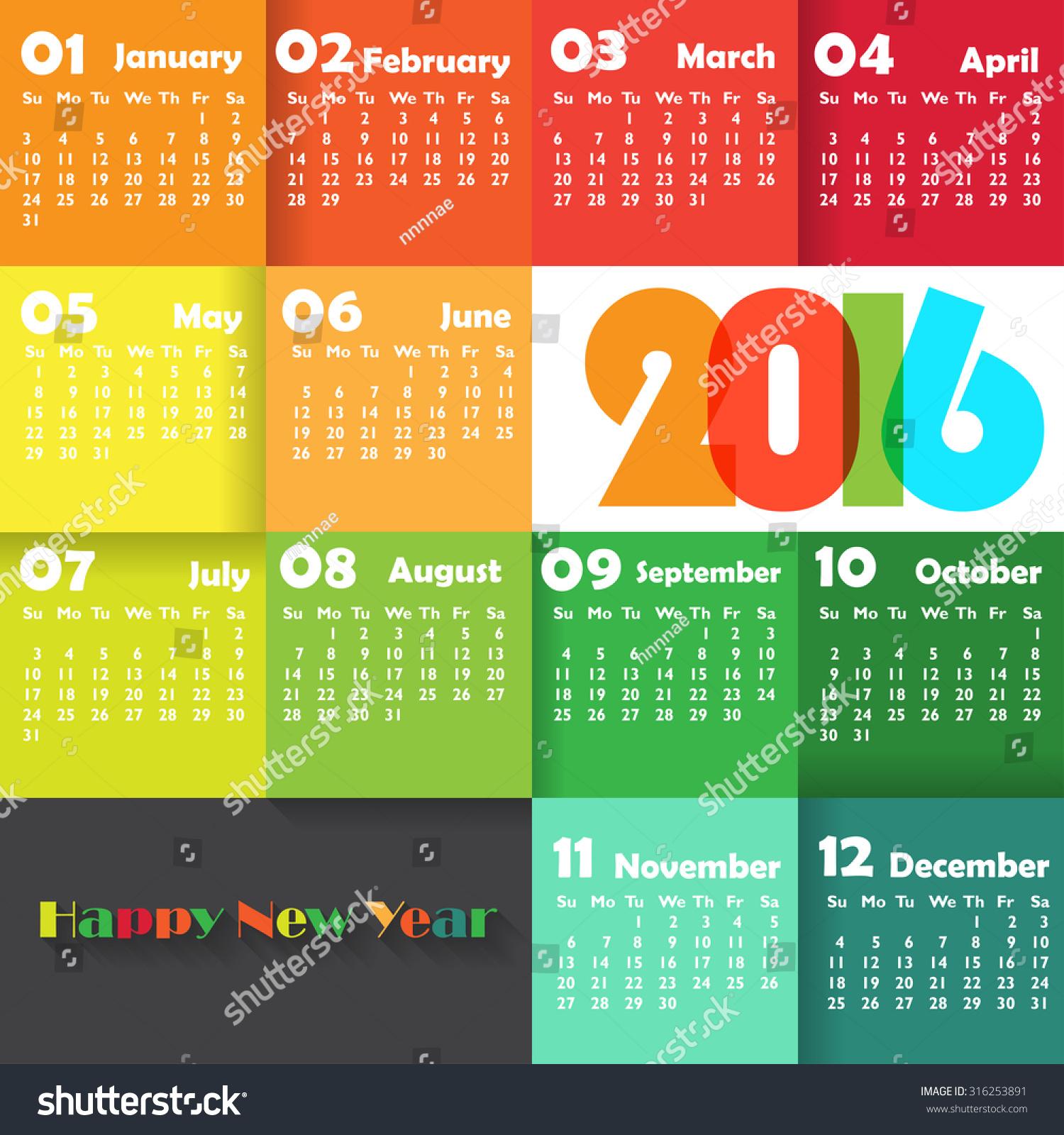 Calendar Background Vector : Calendar on colourful background week stock vector