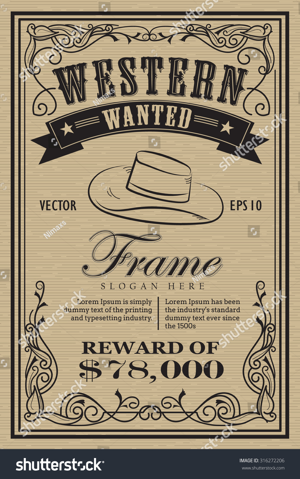 Royalty-free Western vintage frame label wanted… #316272206 Stock ...