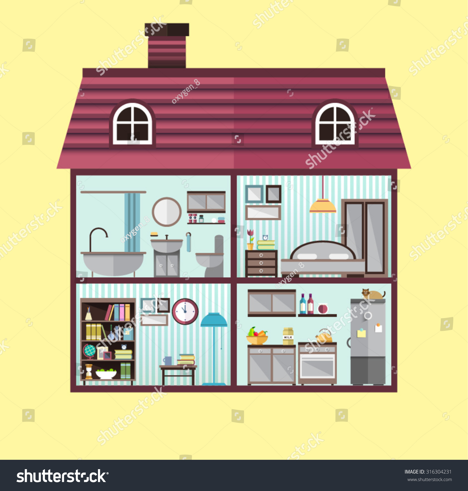 House cut detailed modern house interior stock vector 316304231 shutterstock - House interior images ...