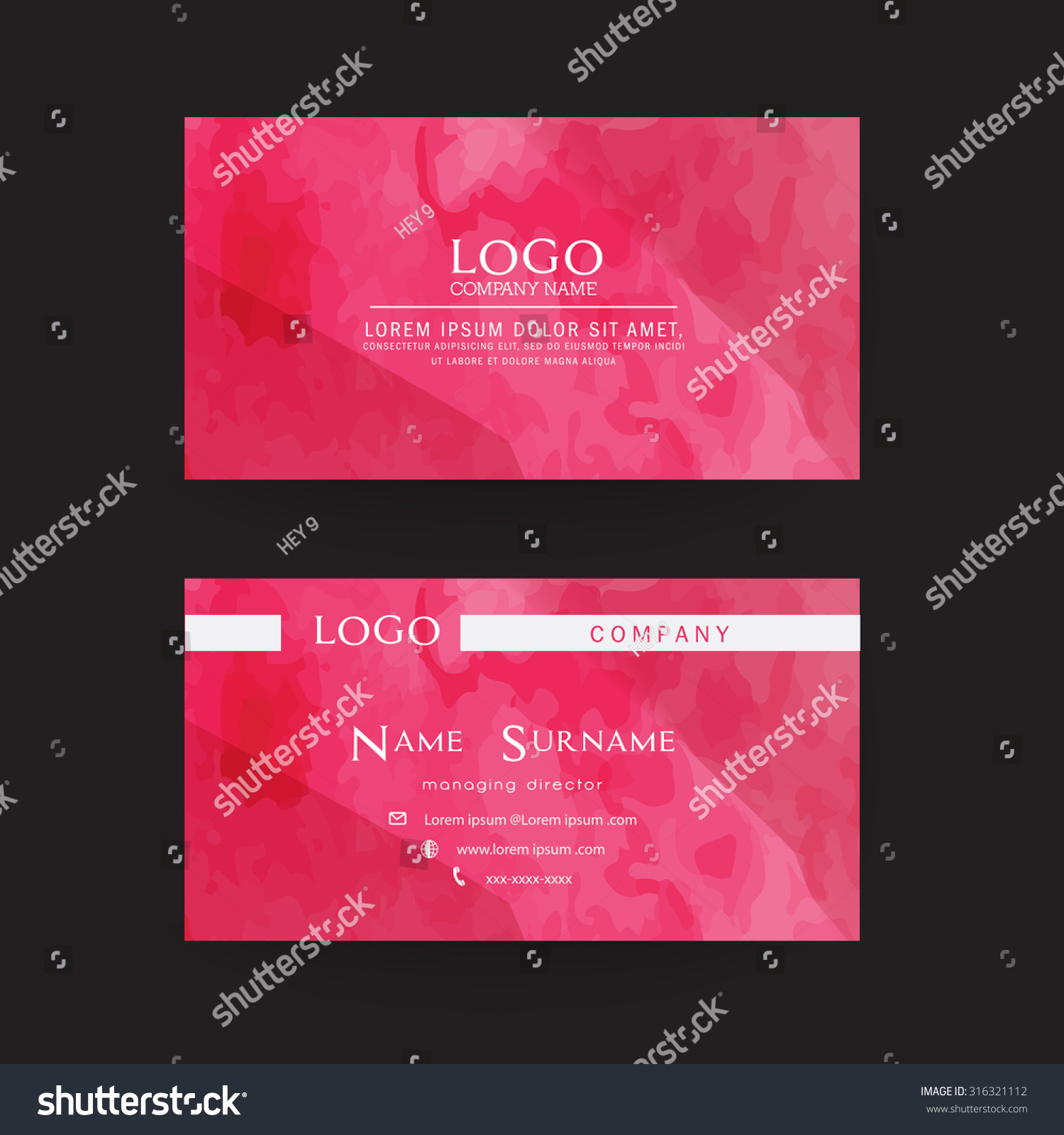 Business Card Templatewatercolor Styles High Quality Stock Vector ...