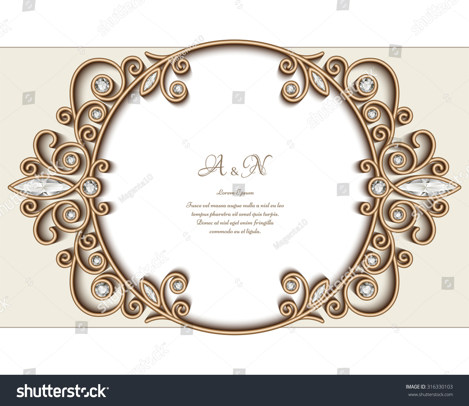 Vintage gold jewelry background diamond vignette vector circle ornament elegant jewellery frame eps10