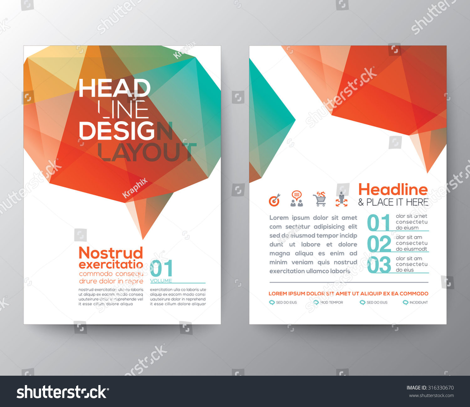 Poster design layout - Abstract Poster Brochure Flyer Design Layout Vector Template In A4 Size With Brain Shape Low Polygon