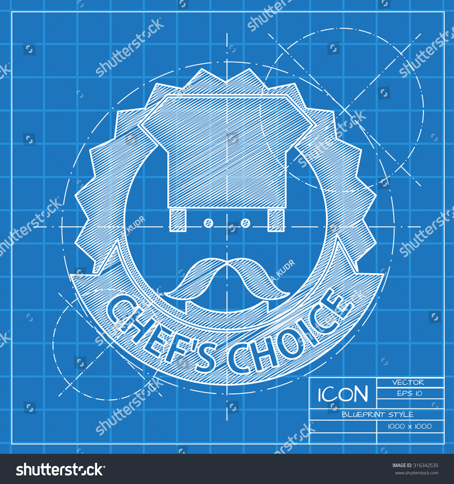 Vector blueprint chef cook chois emblem stock vector 316342535 vector blueprint chef cook chois emblem icon on engineer or architect background malvernweather Gallery