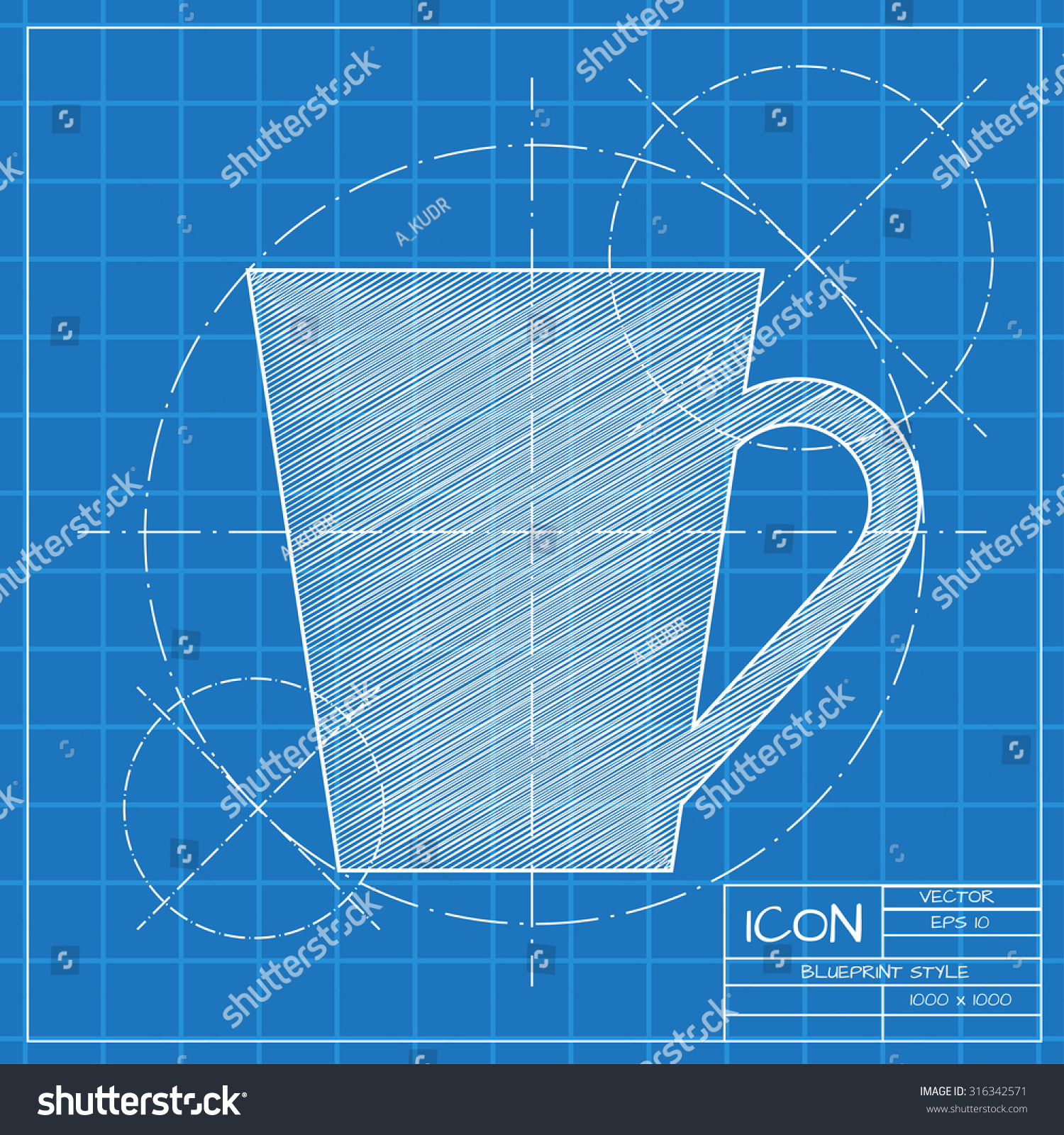 Vector blueprint cup tea coffee icon stock vector 2018 316342571 vector blueprint cup for tea or coffee icon on engineer or architect background malvernweather Images