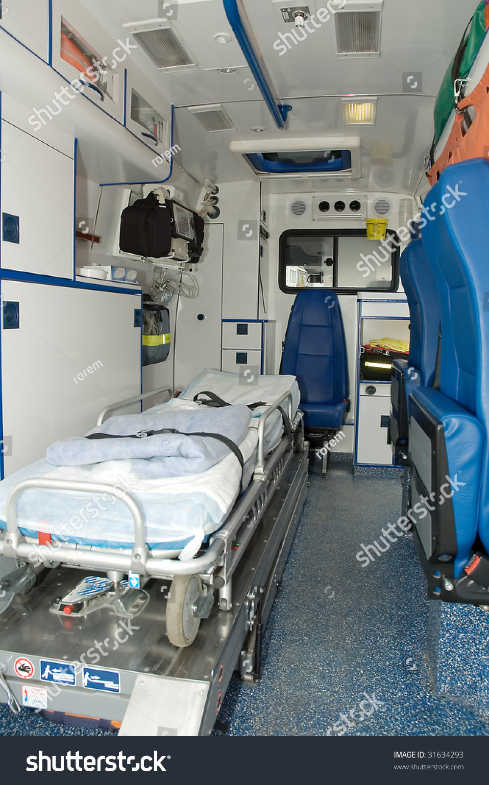 ambulance car interior no people stock photo 31634293 shutterstock. Black Bedroom Furniture Sets. Home Design Ideas