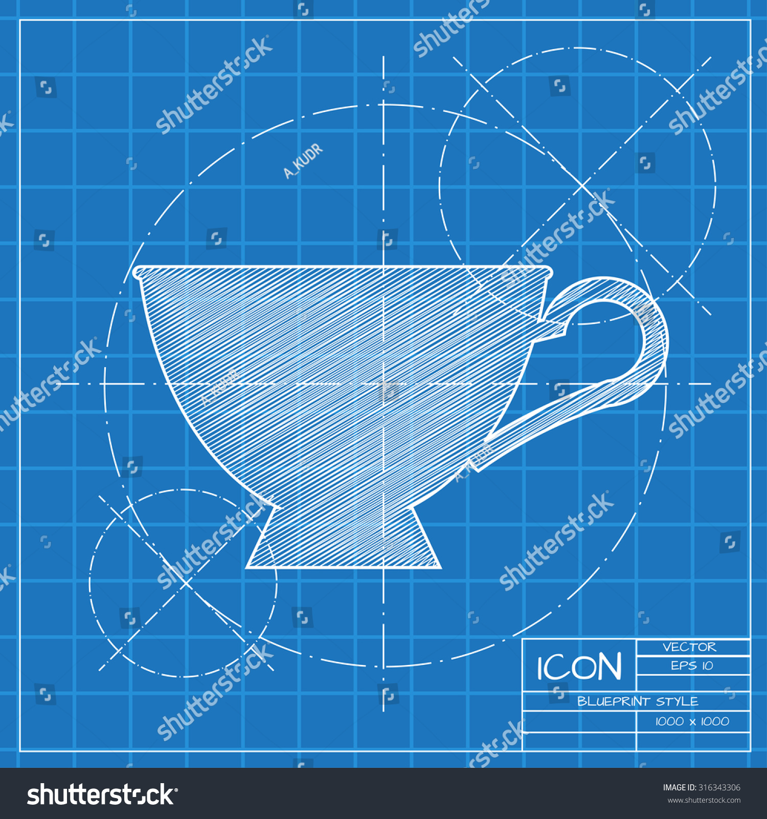 Vector blueprint cup tea coffee icon vectores en stock 316343306 vector blueprint cup for tea or coffee icon on engineer or architect background malvernweather Image collections