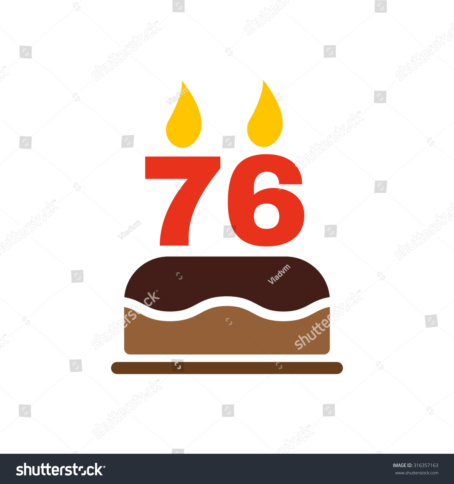 Birthday Cake Candles Form Number 76 Stock Vector 316357163