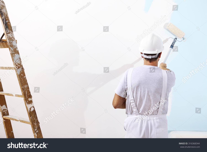 Painter Man Work Paint Roller On Stock Photo 316368344 - Shutterstock