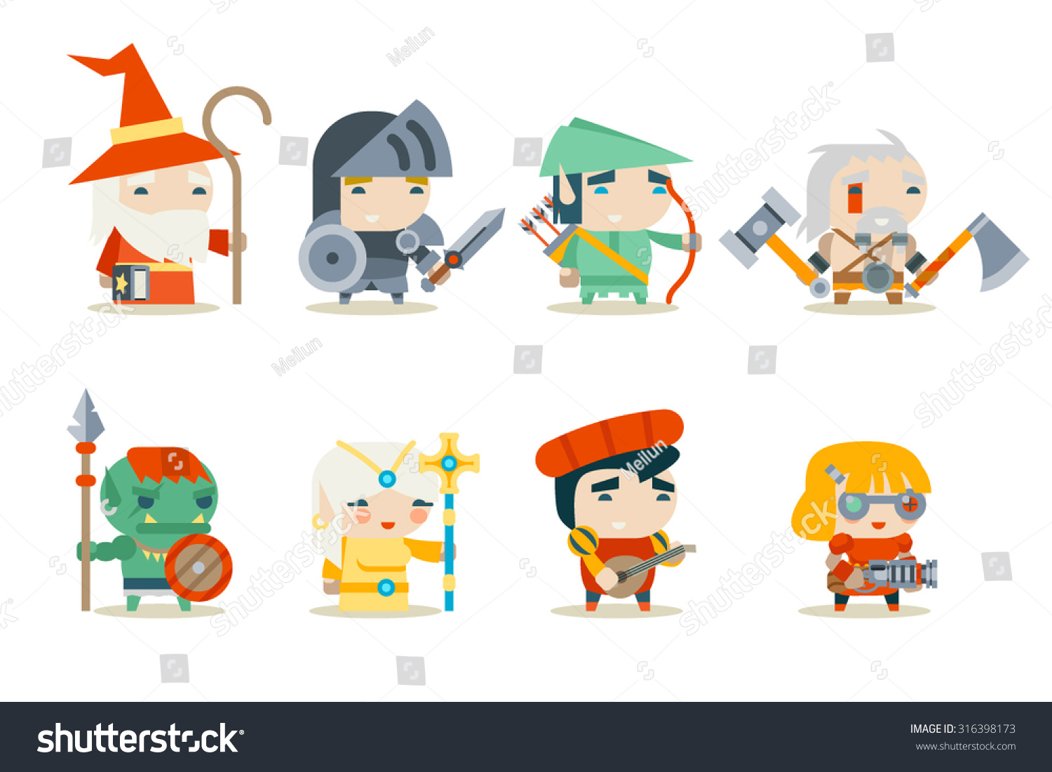 Vector Character Design Illustrator : Fantasy rpg game character icons set stock vector