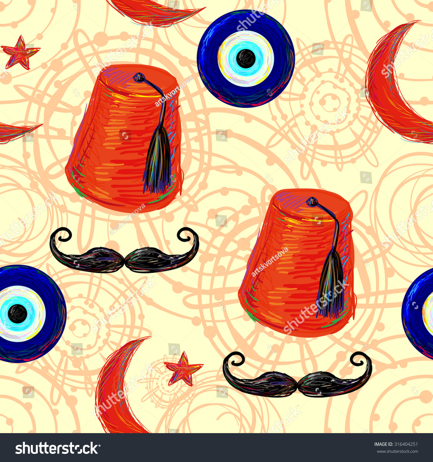 Colorful Mustache Wall Art Picture Collection - Art & Wall Decor ...