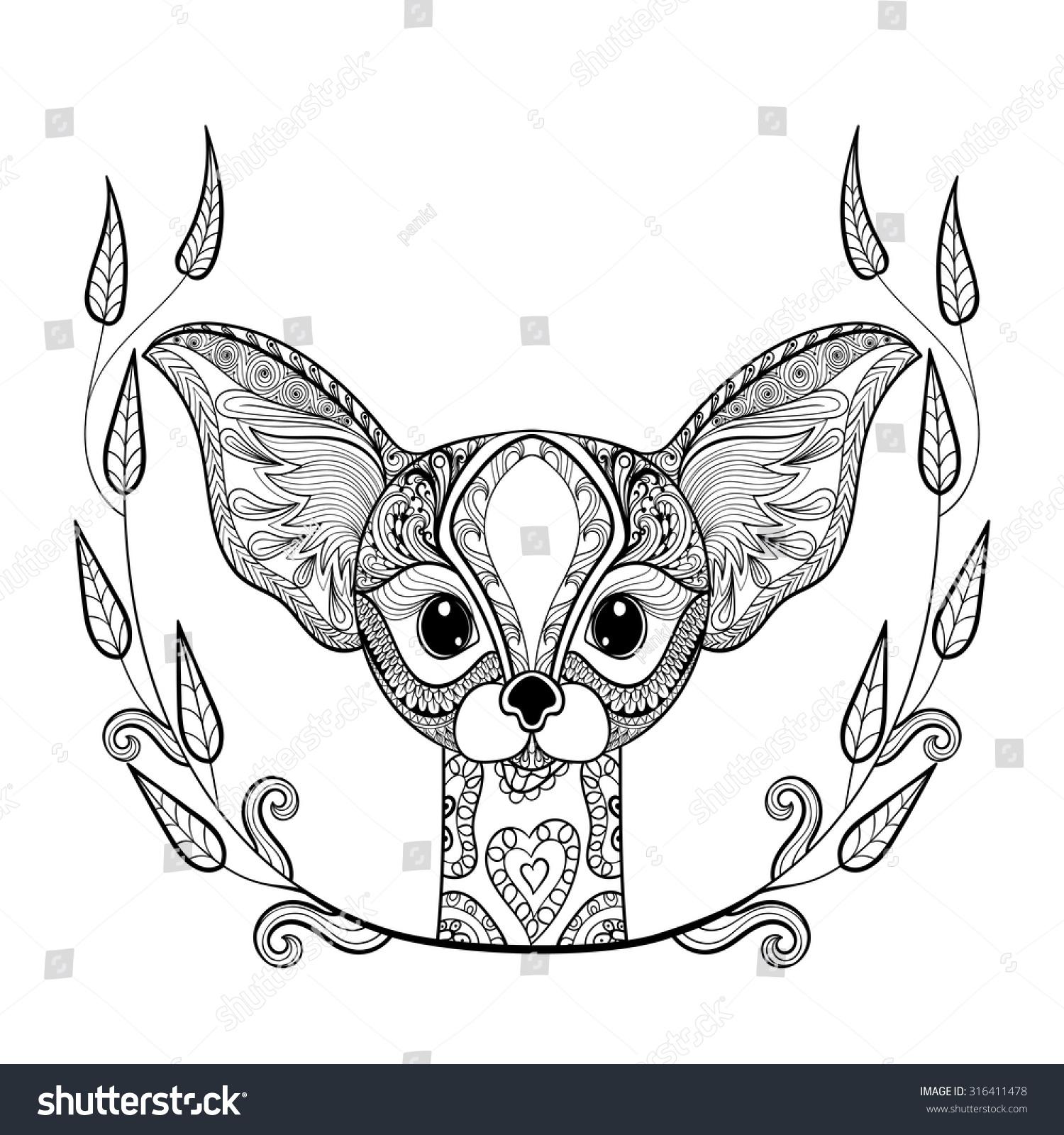 zentangle desert fox head totem frame stock vector 316411478